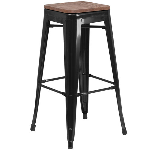 "Our 30"" High Backless Black Metal Barstool with Square Wood Seat is on sale now."