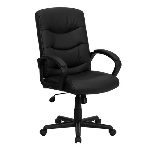 Our Mid-Back Black Leather Executive Swivel Office Chair with Three Line Horizontal Stitch Back and Arms is on sale now.