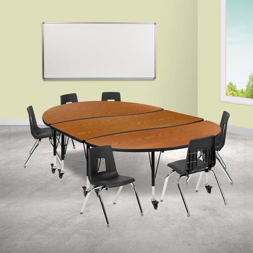"""Our Mobile 86"""" Oval Wave Collaborative Laminate Activity Table Set with 14"""" Student Stack Chairs, Oak/Black is on sale now."""