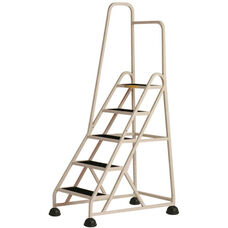 Stop Step 5 Step Ladder with Single Left Handrail - Beige