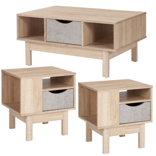 Our St. Regis Collection 3 Piece Coffee and End Table in Oak Wood Grain Finish with Gray Drawers is on sale now.