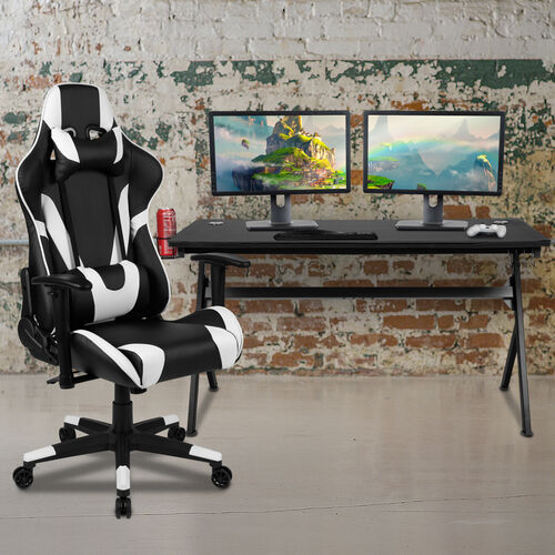 Gaming Desk and Reclining Gaming Chair Set with Cup Holder, Headphone Hook & Removable Mouse Pad Top - Wire Management