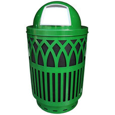40 Gallon Covington Galvannealed Steel Dome-Top Can with Plastic Liner - Green