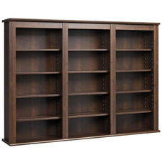 Triple Wall Mounted Storage with 12 Adjustable Shelves - Espresso