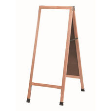 A-Frame Sidewalk White Melamine Marker Board with Solid Red Oak Frame - 42