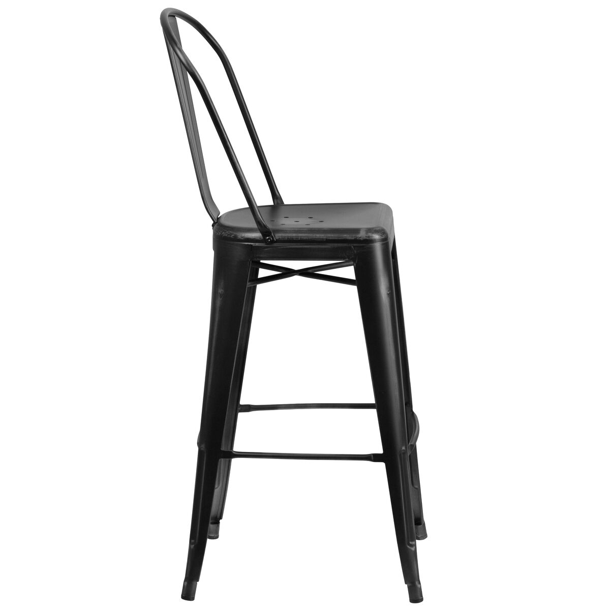 Our 30 High Distressed Black Metal Indoor Outdoor Barstool With Back Is On
