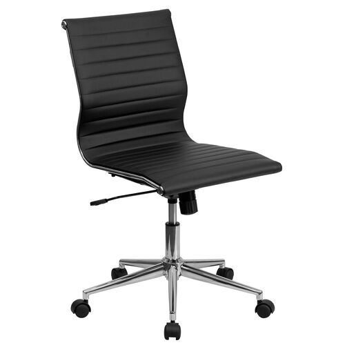 Our Mid-Back Armless Black Ribbed Leather Swivel Conference Office Chair is on sale now.
