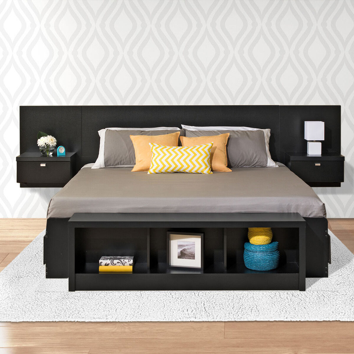 Our series 9 designer floating king size headboard with attached nightstands black is on sale