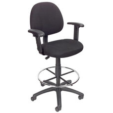 Contoured Back Drafting Stool with Foot Ring and Adjustable Arms - Black Tweed
