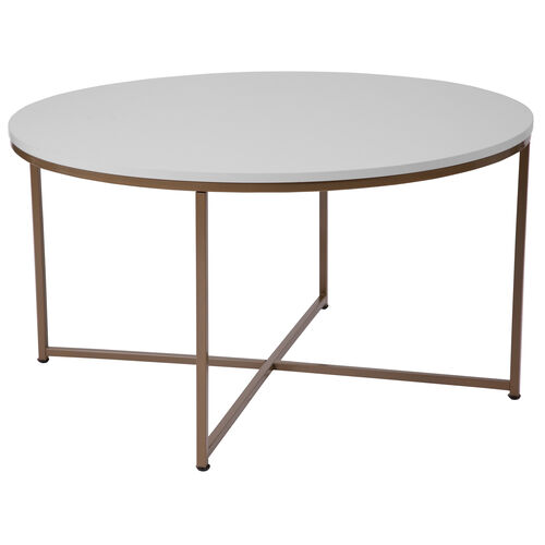 Our Hampstead Collection White Coffee Table with Matte Gold Frame is on sale now.