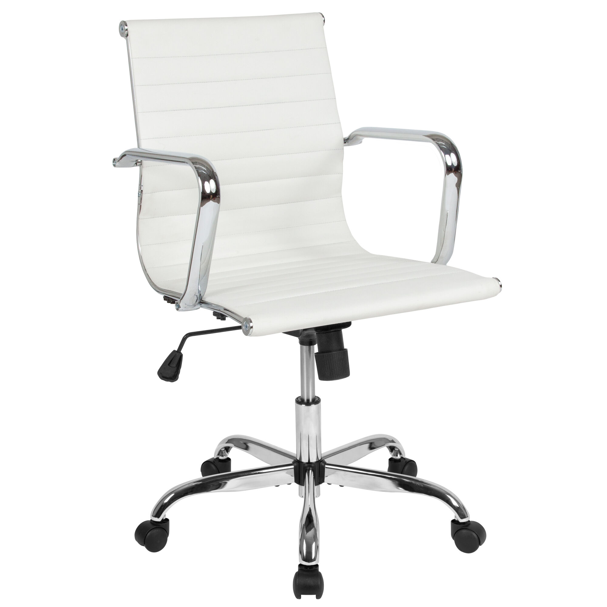 Mid Back White Leathersoft Mid Century Modern Ribbed Swivel Office Chair With Spring Tilt Control And Arms