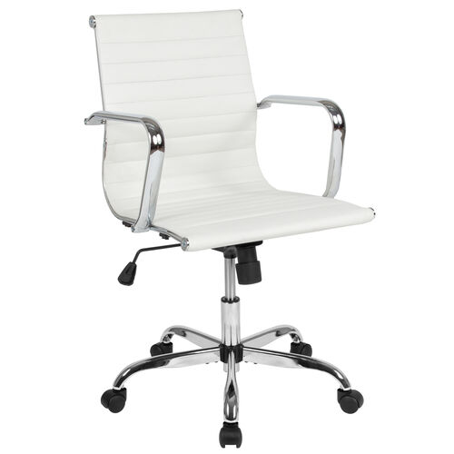 Our Mid-Back White LeatherSoft Mid-Century Modern Ribbed Swivel Office Chair with Spring-Tilt Control and Arms is on sale now.