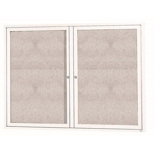 Our 2 Door Outdoor Enclosed Bulletin Board with White Powder Coated Aluminum Frame - 36