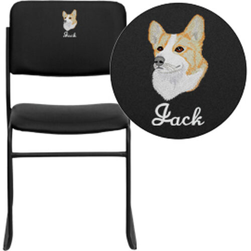 Our Embroidered HERCULES Series 1000 lb. Capacity High Density Black Vinyl Stacking Chair with Sled Base is on sale now.