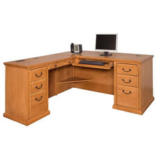 kathy ireland Home™ Huntington Collection L Shaped Workstation with Left Return -Wheat
