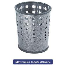 Safco® Bubble Wastebasket - Round - Steel - 6gal - Black Speckle