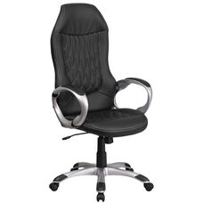 High Back Black Vinyl Executive Swivel Office Chair with Arms