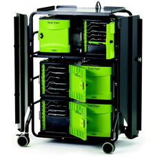 Rolling 32 Port Tech Tub2® Premium Cart with High Security Locking Door and External Cable Management - 26