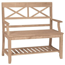 Double X-Back Bench with Slated Storage Shelf and Arms - Unfinished