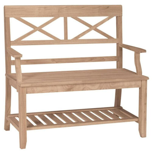 Our Double X-Back Bench with Slated Storage Shelf and Arms - Unfinished is on sale now.