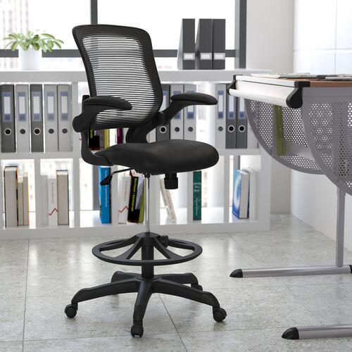 Mid-Back Mesh Ergonomic Drafting Chair with Adjustable Foot Ring and Flip-Up Arms