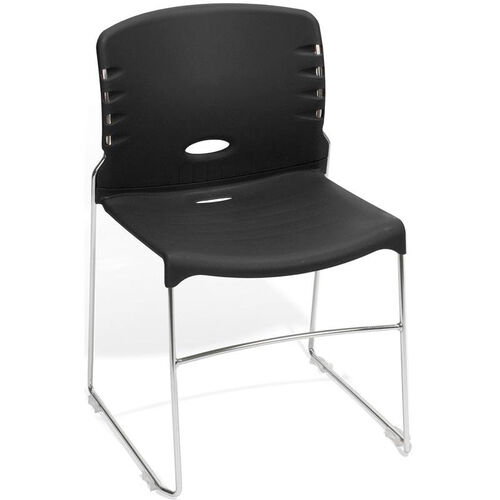 300 lb. Capacity Plastic Seat and Back Stack Chair -Black