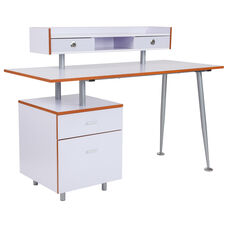 Piedmont Home and Office Desk with 2 Drawers and Top Storage Shelf in White Finish