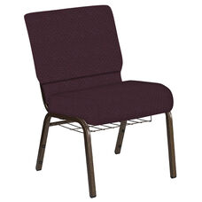 Embroidered 21''W Church Chair in Venus Aubergine Fabric with Book Rack - Gold Vein Frame