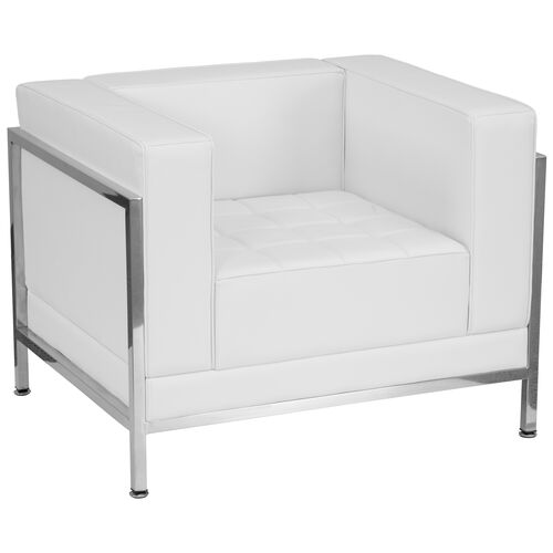 Our HERCULES Imagination Series Contemporary Melrose White Leather Chair with Encasing Frame is on sale now.