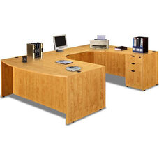 Honey Bow Front Desk U Suite