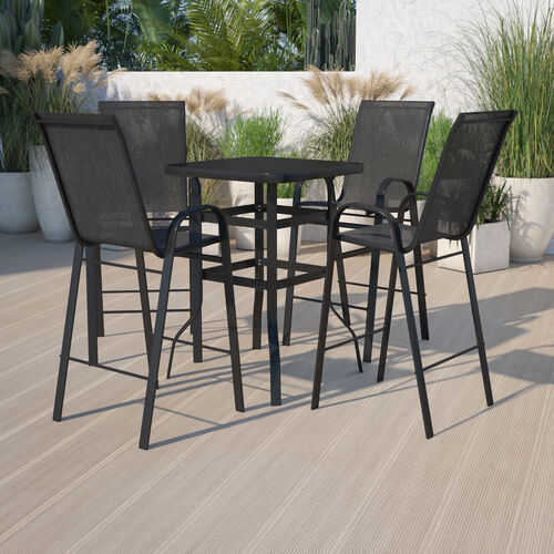 Outdoor Dining Set - 4-Person Bistro Set - Outdoor Glass Bar Table with All-Weather Patio Stools