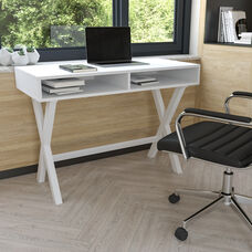 Home Office Writing Computer Desk with Open Storage Compartments - Bedroom Desk for Writing and Work, White