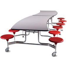 Afton™ Edgescape™ Foldable Cafeteria Table with 12 Attached Round Seats - 144''L x 66''W x 29''H