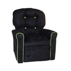 Kids 4 Button Microsuede Rocking Recliner with Kiwi Trim - Black