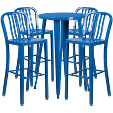 """Commercial Grade 24"""" Round Blue Metal Indoor-Outdoor Bar Table Set with 4 Vertical Slat Back Stools"""