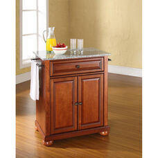Solid Granite Top Portable Kitchen Island with Alexandria Feet - Classic Cherry Finish