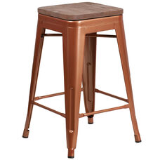 "24"" High Backless Copper Counter Height Stool with Square Wood Seat"