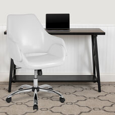 White Leather or Faux Leather with Chrome Metal finish
