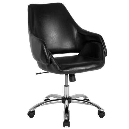 Our Madrid Home and Office Upholstered Mid-Back Chair in Black Leather is on sale now.
