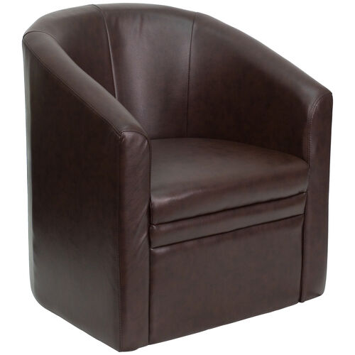 Our Brown Leather Barrel-Shaped Guest Chair is on sale now.