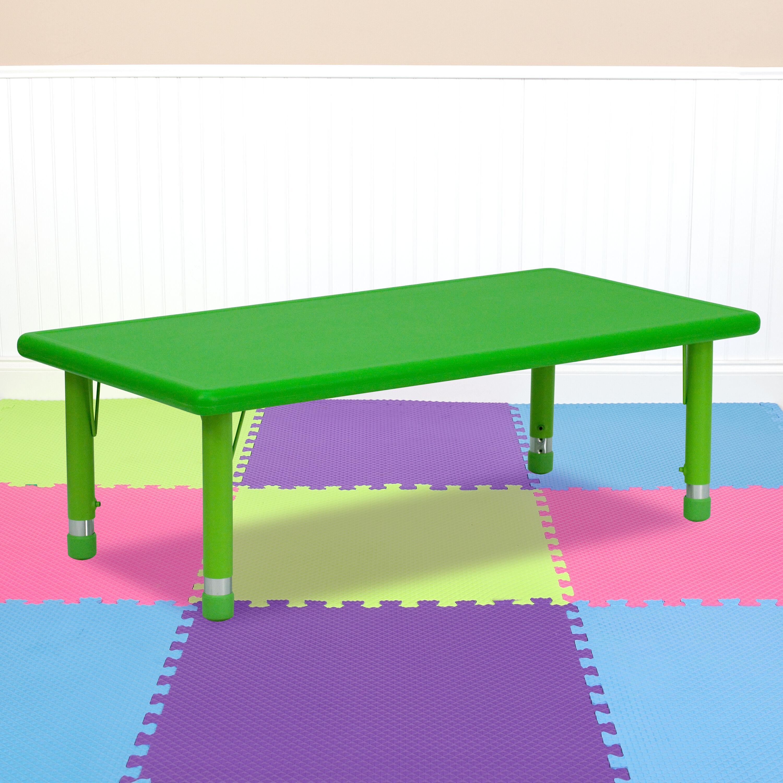 Green Preschool Activity Table YU YCX 001 2 RECT TBL GREEN GG | Bizchair.com