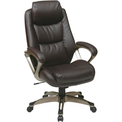 Our Work Smart Executive Eco Leather Chair with Padded Arms and Cocoa Coated Base - Espresso is on sale now.