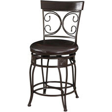 Big and Tall Back to Back Scroll Metal Counter Stool - Dark Bronze Metal with Merlot Wood and Dark Brown Faux Leather