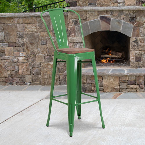 """30"""" High Green Metal Barstool with Back and Wood Seat"""