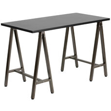 Black Computer Desk with Brown Metal Frame