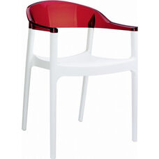 Carmen Modern Polypropylene Stackable Dining Arm Chair with Transparent Red Back - Glossy White
