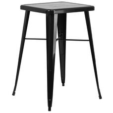 """Commercial Grade 23.75"""" Square Black Metal Indoor-Outdoor Bar Height Table"""
