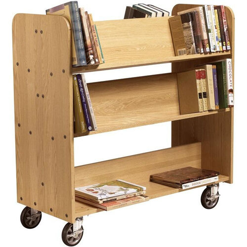 Our Solid Oak Mobile Book Truck with 2 Flat and 4 Sloped Shelves - 42