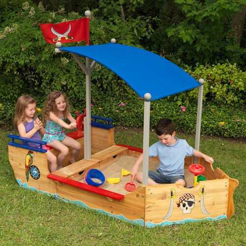 Our Kids Brightly Colored Outdoor Pirate Ship Sandbox with Bench Seating and Blue Canopy is on sale now.