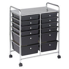 12 Drawer Mobile Organizer with Chrome-Plated Top Shelf and Smoke Colored Pullout Drawers - 4 Large